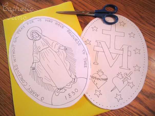 miraculous medal craft for catholic kids catholic printables pinterest catholic kids. Black Bedroom Furniture Sets. Home Design Ideas