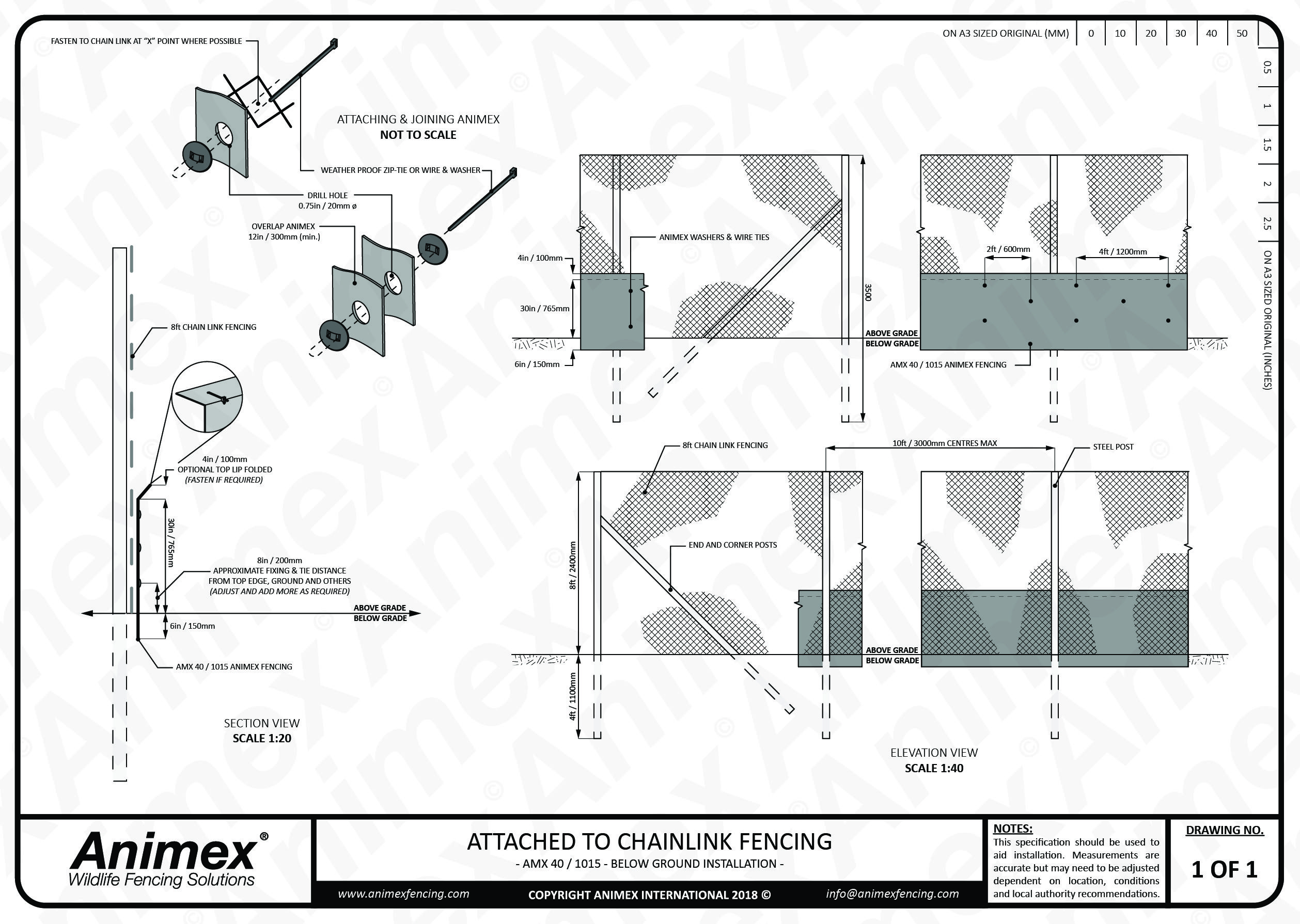 hight resolution of this fencing specification shows how animex fencing can be easily installed onto any larger mammal or chainlink fencing to help protect all species of