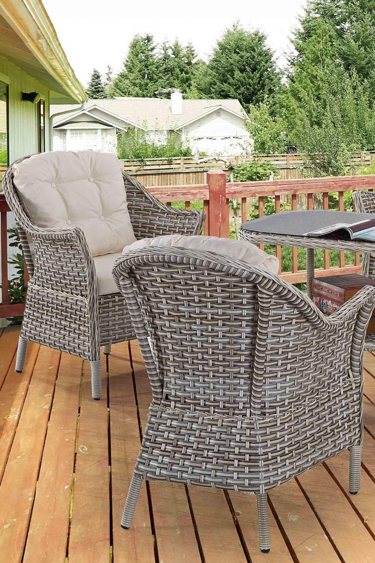 Vieno Home Garden Alba Orgu Rattan Bahce Balkon Ikili Koltuk Masa 4 Parca Keyif Seti Trendyol 2020 Dis Mekan Mobilyalari Koltuklar Bahce