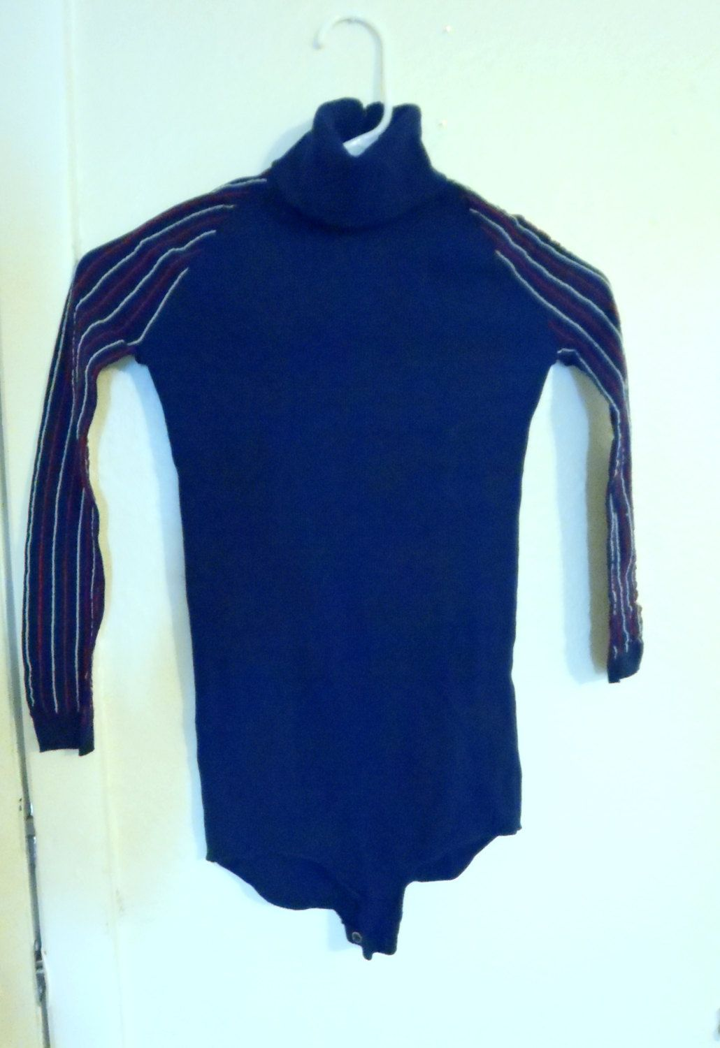 95f5194a6 Vintage 1960-70 s Stretch Blue Leotard with Red and White Stripes ...