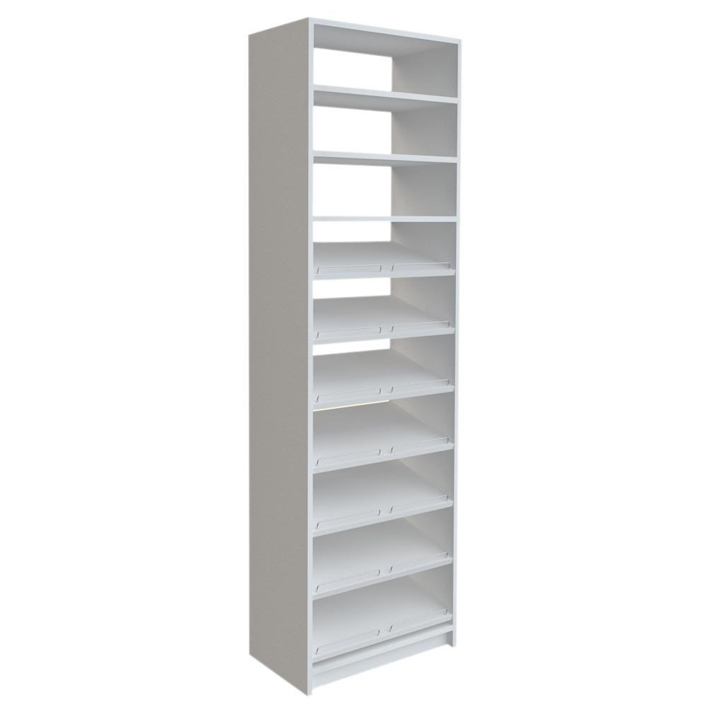SimplyNeu 84 in. H x 24 in. W White Shoe Storage Tower Kit | Storage ...
