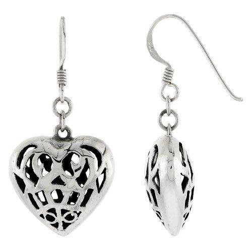 Sterling Silver Hollow Heart Filigree Style Hook Earrings, 11/16 inch tall, Women's