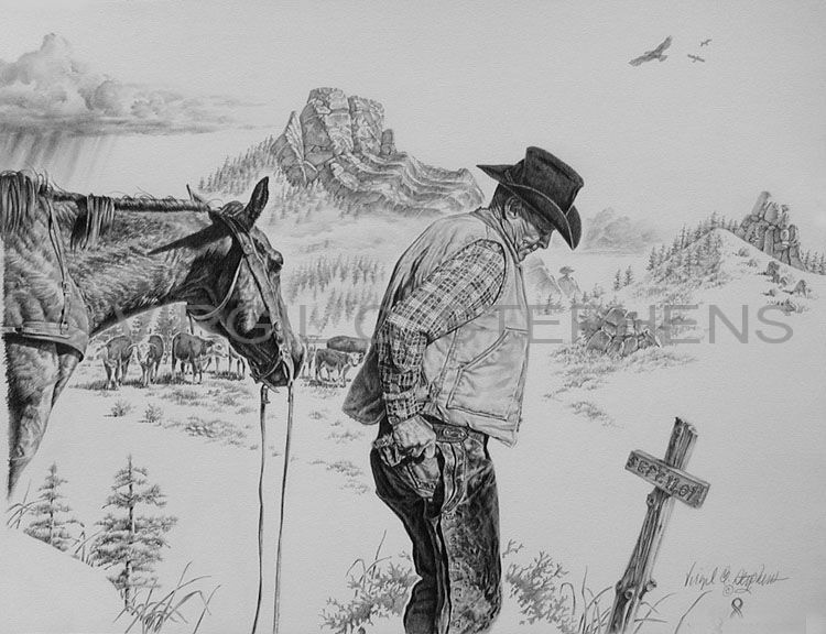 September 11 2001 patriotic christian pencil drawing by western artist virgil c stephens
