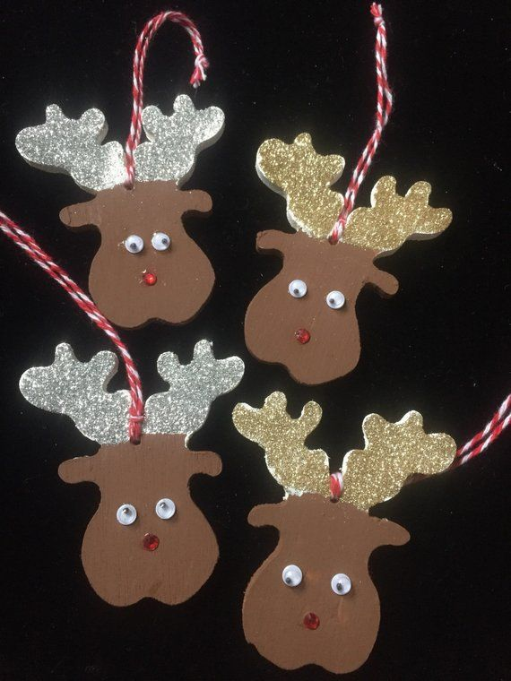 Reindeer/ rudolph christmas tree decorations, set of 3, wooden