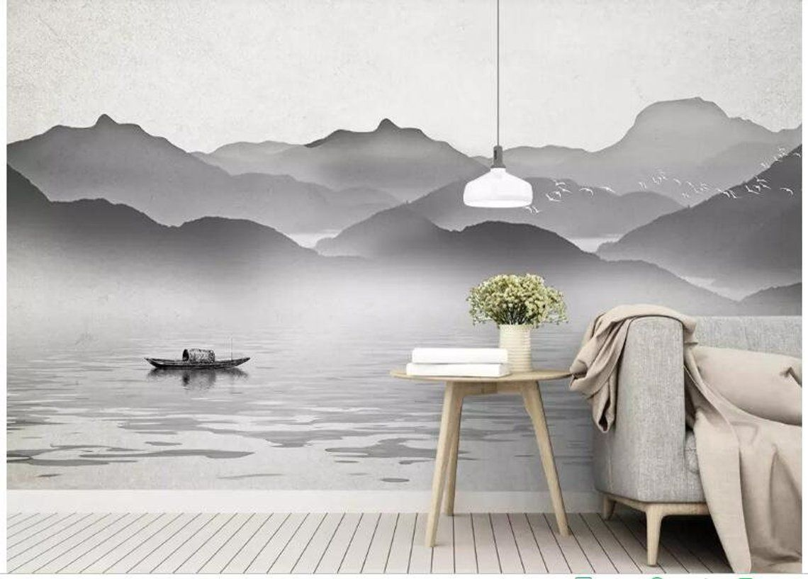 Ink Hand Painted Grey Mountains Wallpaper Wall Mural Grey Mountains With Water Landscape Wall Mural Hand Painted Mountains Wall Mural Mountain Wall Mural Wall Murals Wall Wallpaper