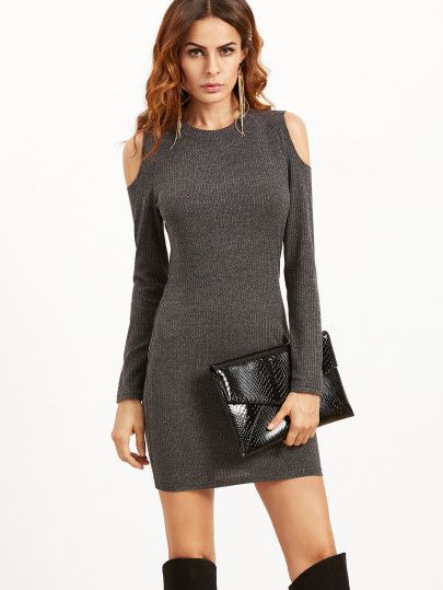 Grey Open Shoulder Ribbed Bodycon Dress  20af7bc798c