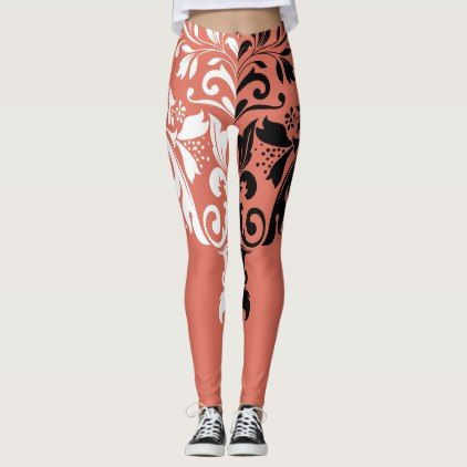 1eb807977ff66 White & Black Girly Floral Swirls Leggings - black and white gifts unique  special b&w style