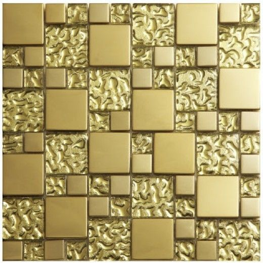 Gold crystal glass metal mosaics stainless steel tile bathroom kitchen shower background wall - How to enhance your home with glass tiling ...