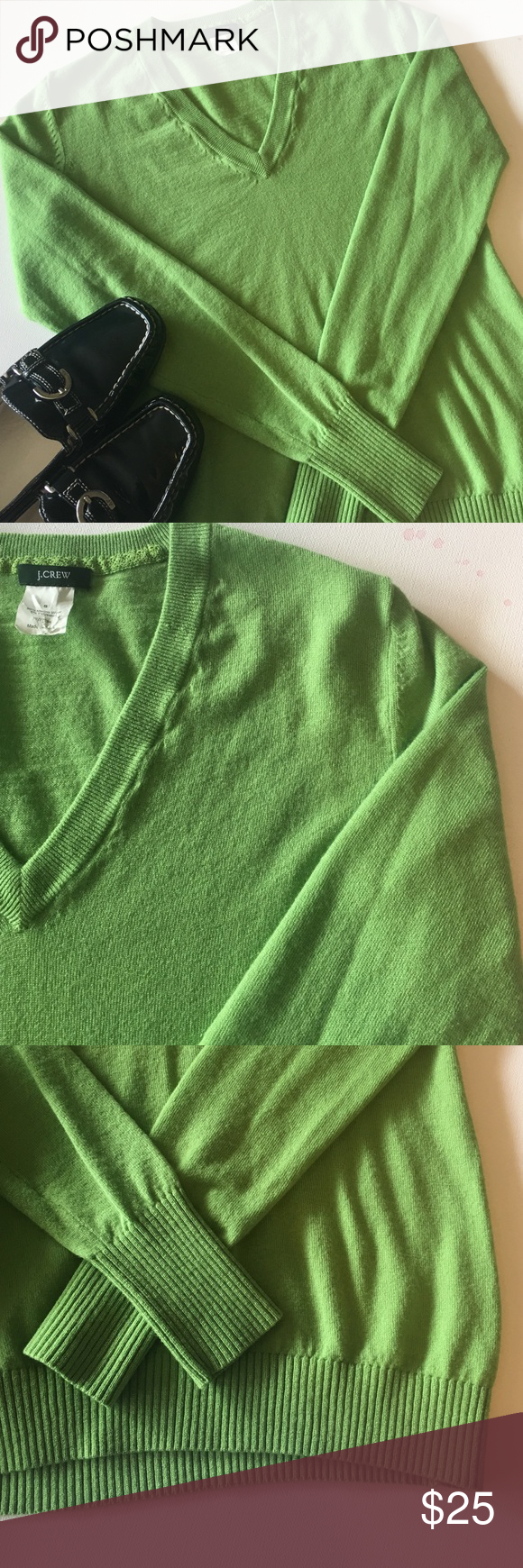 J. Crew V-Neck Sweater Great pop of lime green color for these upcoming spring days will be having. Sophisticated and classy! In very good condition, minor flaw top of neckline seen in pic #2- can hardly notice it. J. Crew Sweaters V-Necks