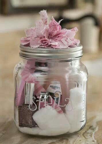 Manicure in a jar such a cute idea for a gift!
