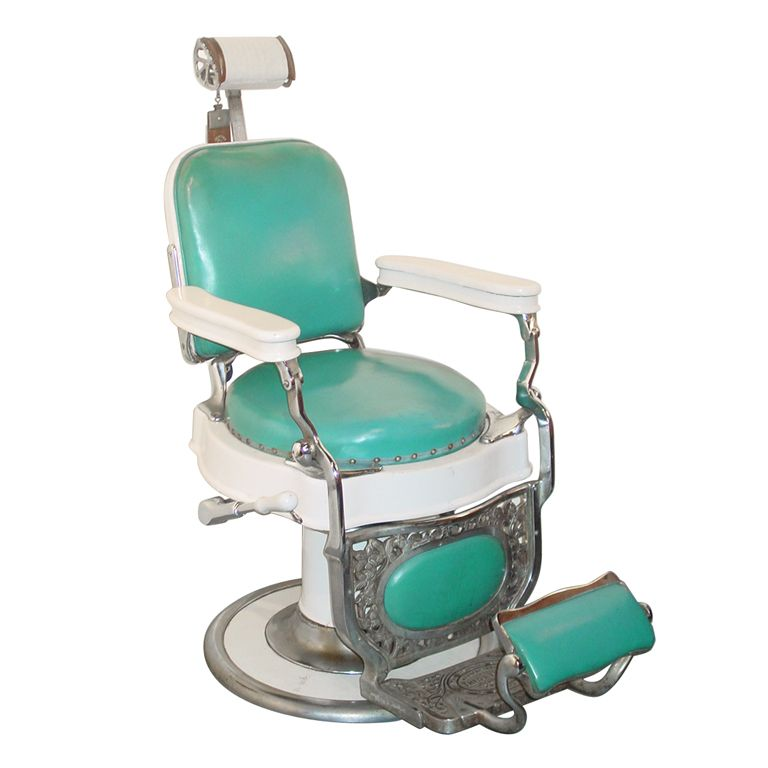 A Theo A Koch Enamel And Chromed Cast Iron Barber Chair In