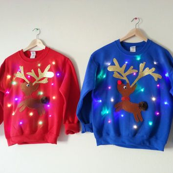 Couple's Light Up Ugly Christmas Sweaters- Rudolph and Clarice!!! - Couple's Light Up Ugly Christmas Sweaters- Rudolph And Clarice