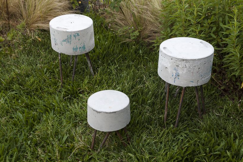 Concrete Hrs Stools Made Of Recycled Materials Found At