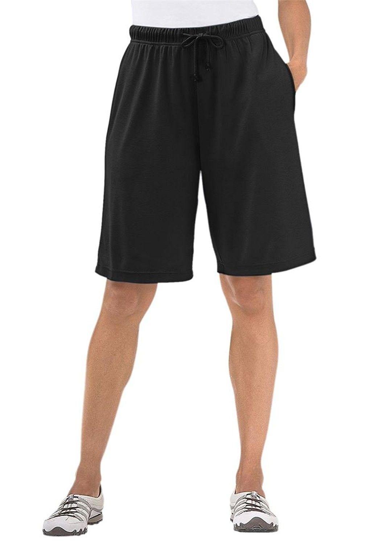 d559fd7ec46 Women s Plus Size Shorts In Soft Sport Knit - Black - CO119KJ5D5L ...
