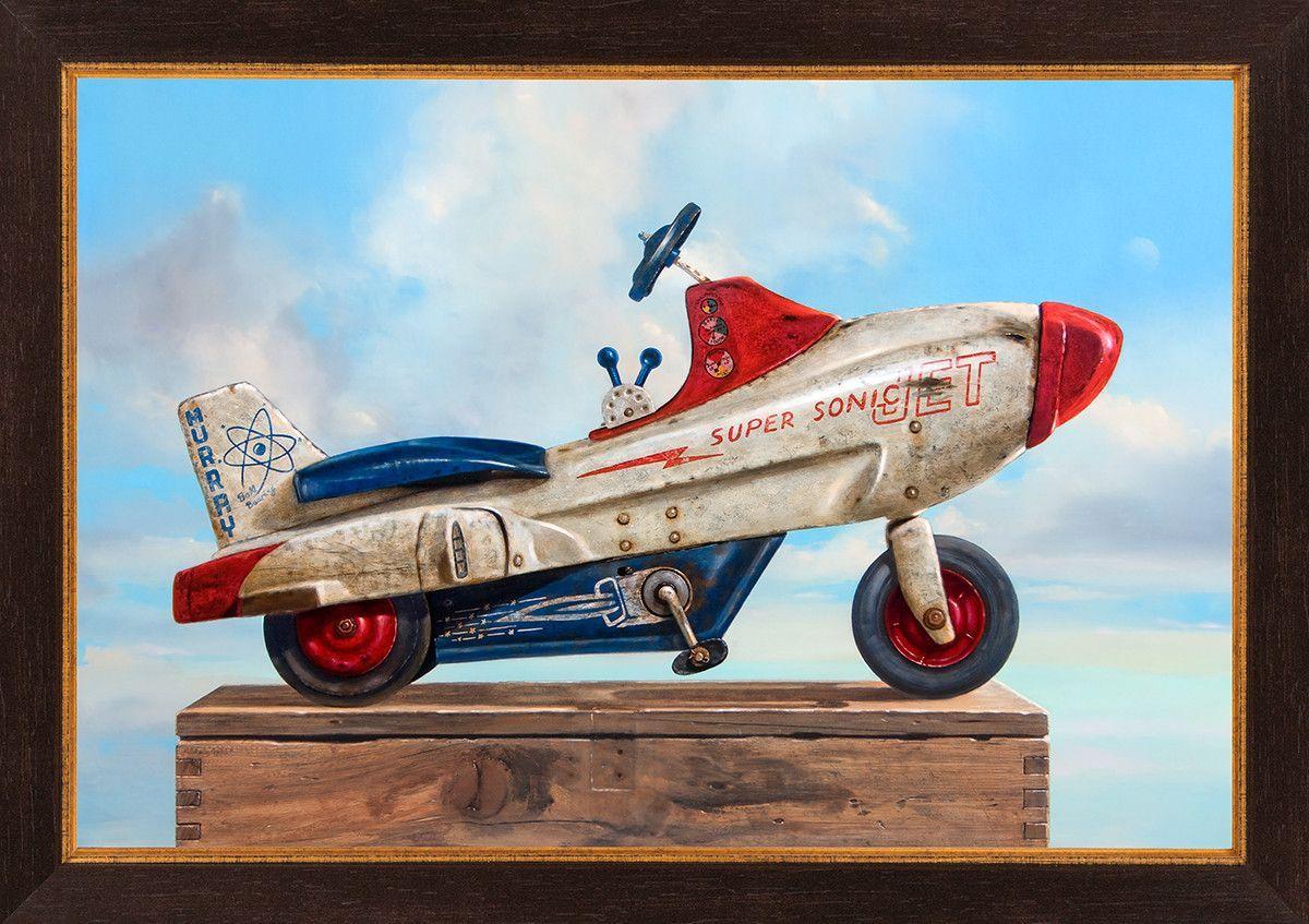 Sky Rider Pedal Cars Still Life Painting Vintage Toys