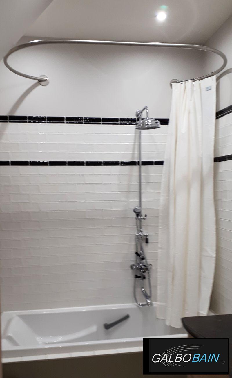 barre de rideau de douche ovale murale