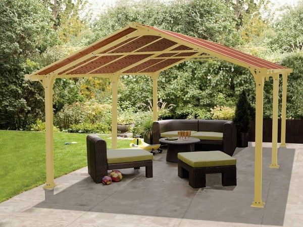 Delicieux Enclosure Dazzling Large Patio Gazebo Canopy From Metal Pergola Frame In  Yellow Paint Colors With Lime Green Sofa Cushions On Resin Wicker Patio  Furniture ...