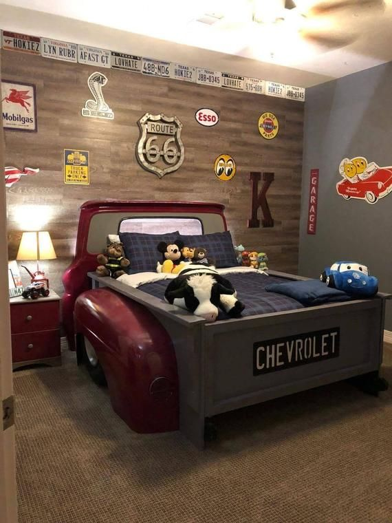 Twin Truck Bed Kids Room Garage Furniture Mancave Decor Car Bed