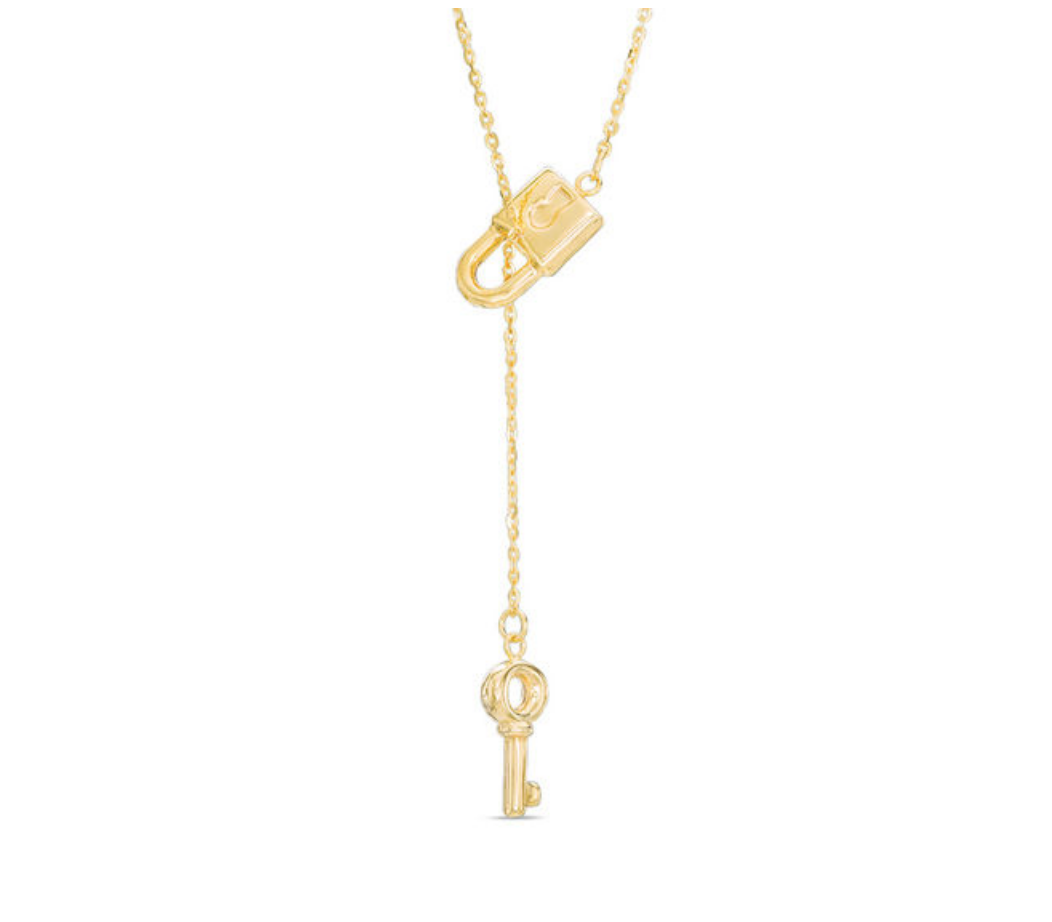 Lock and key lariat necklace in k gold key gold and dangles