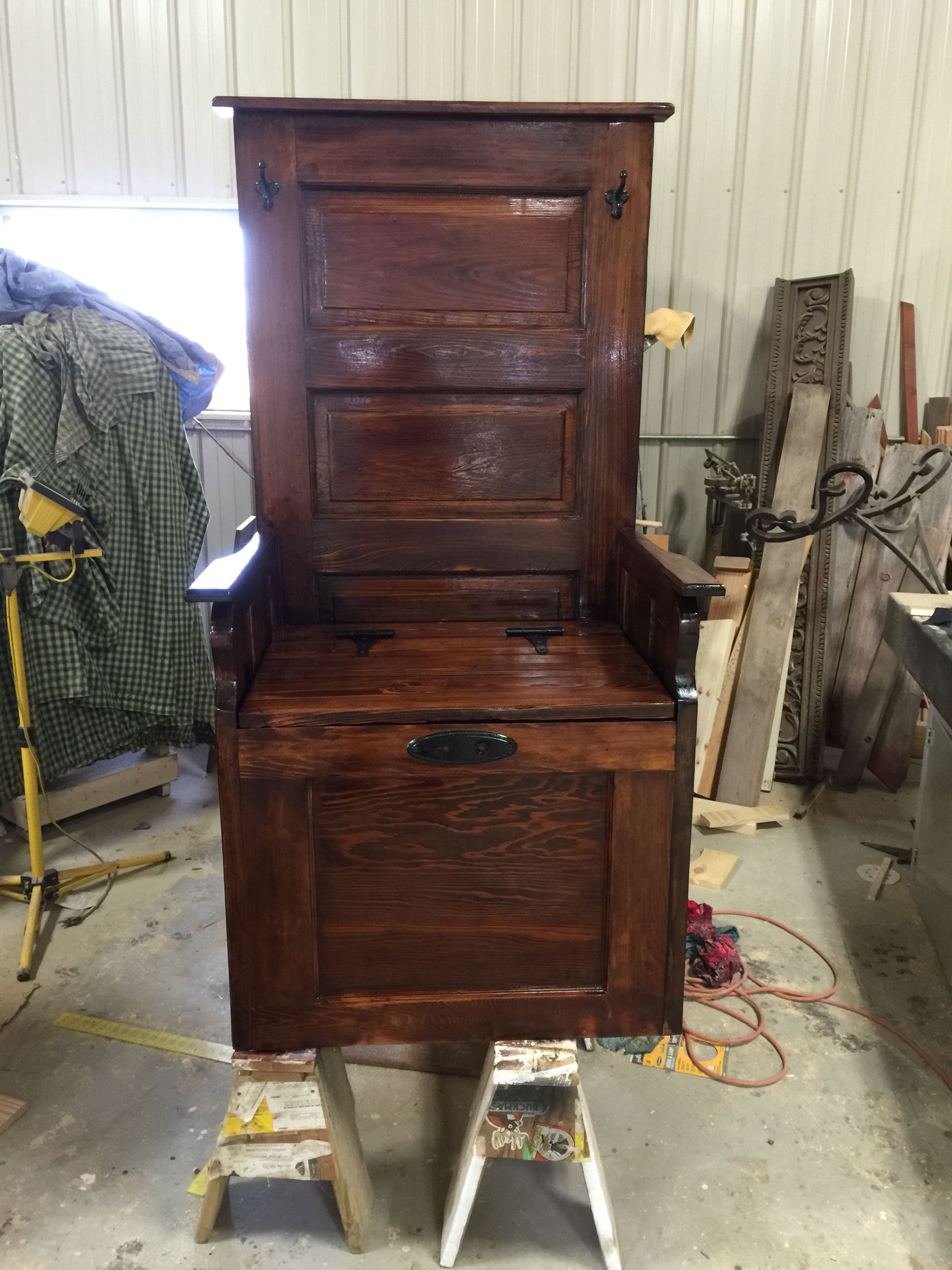 Hall Tree Made From Old Door With Storage In Seat.