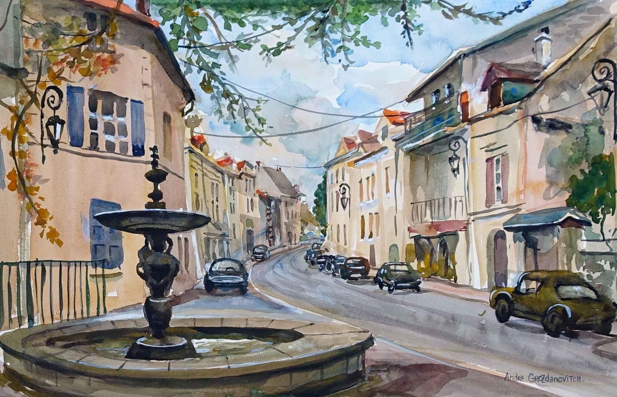 Fontaine Dans Un Village Provencal De Andre Grozdanovitch