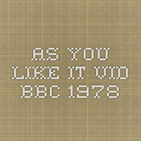 As You Like It Vid BBC 1978