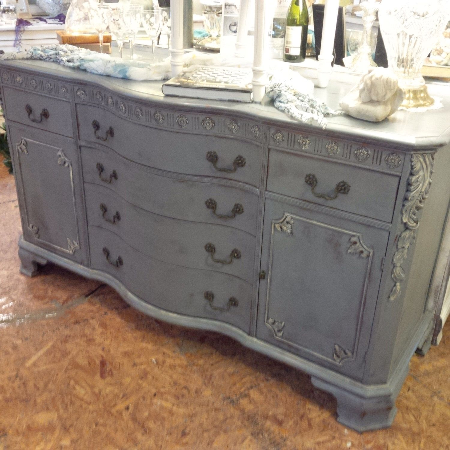 Shabby Chic Painted Buffet/Server/Media Console by TessHome on Etsy https://www.etsy.com/listing/226177636/shabby-chic-painted-buffetservermedia