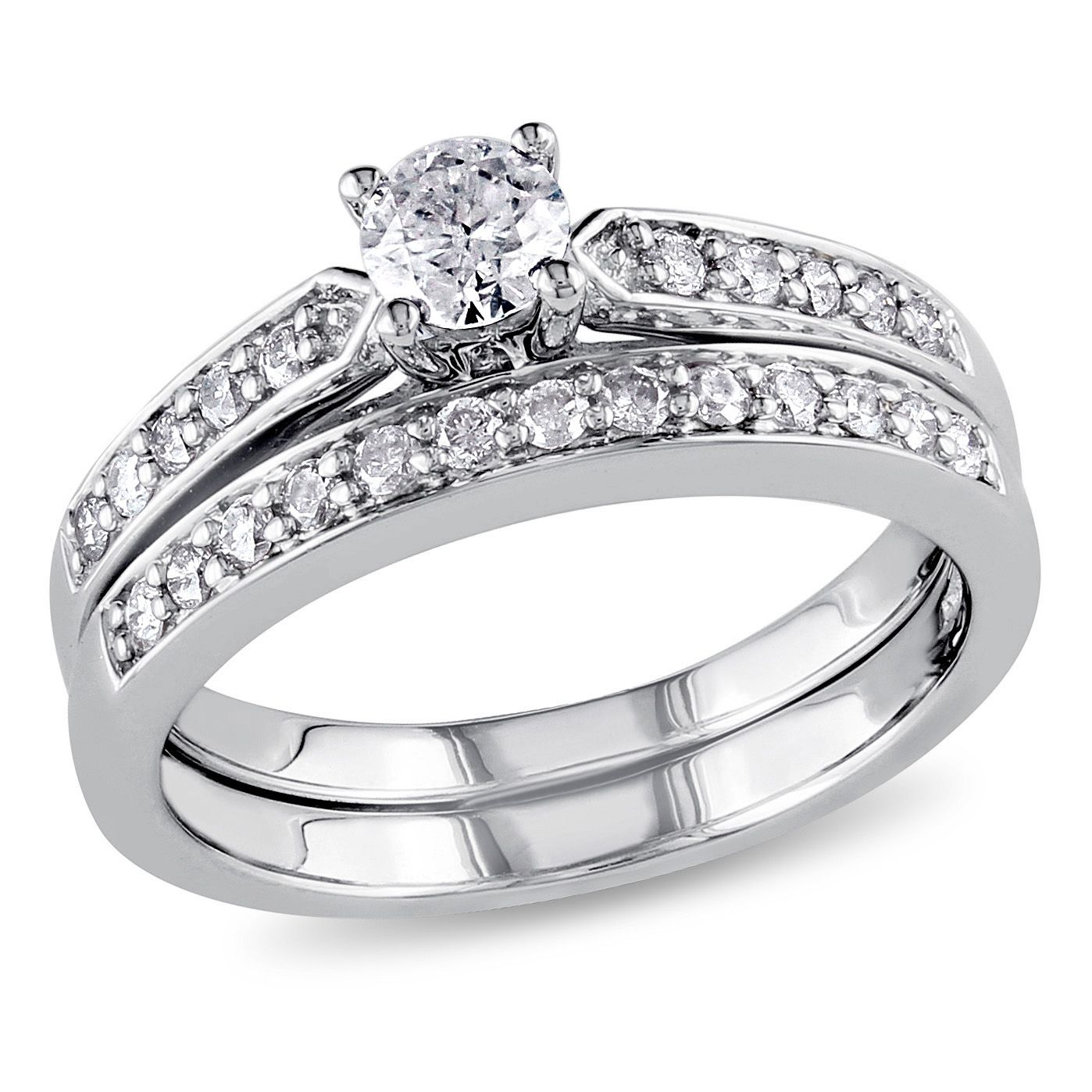 Miabella 1 2 Carat T W Diamond Sterling Silver Bridal Set Walmart Com In 2020 Diamond Bridal Ring Sets Diamond Bridal Sets Three Stone Diamond Rings Engagement