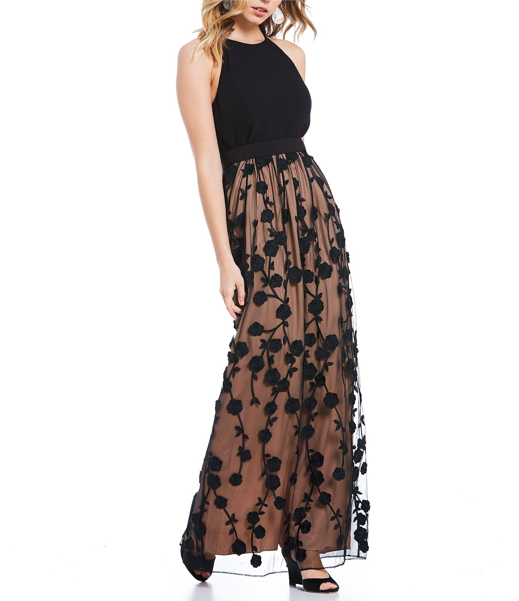 Belle Badgley Mischka Floral Embroidered Wesley Gown #Dillards ...
