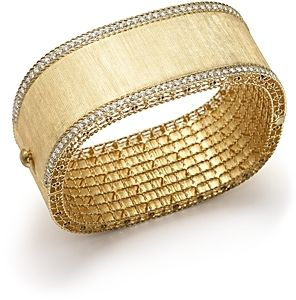 Roberto Coin 18K Yellow Gold and Diamond Large Satin Princess Bangle