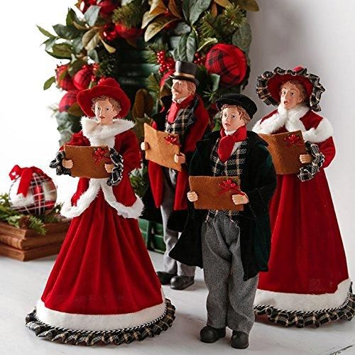 RAZ Imports 18-Inch Christmas Carolers - Set of 4 Here comes Santa