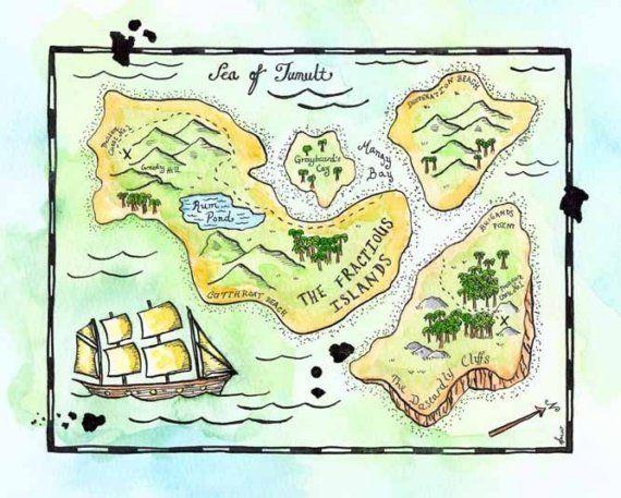 Treasure Map The Fractious Islands Map Original 8 X 10