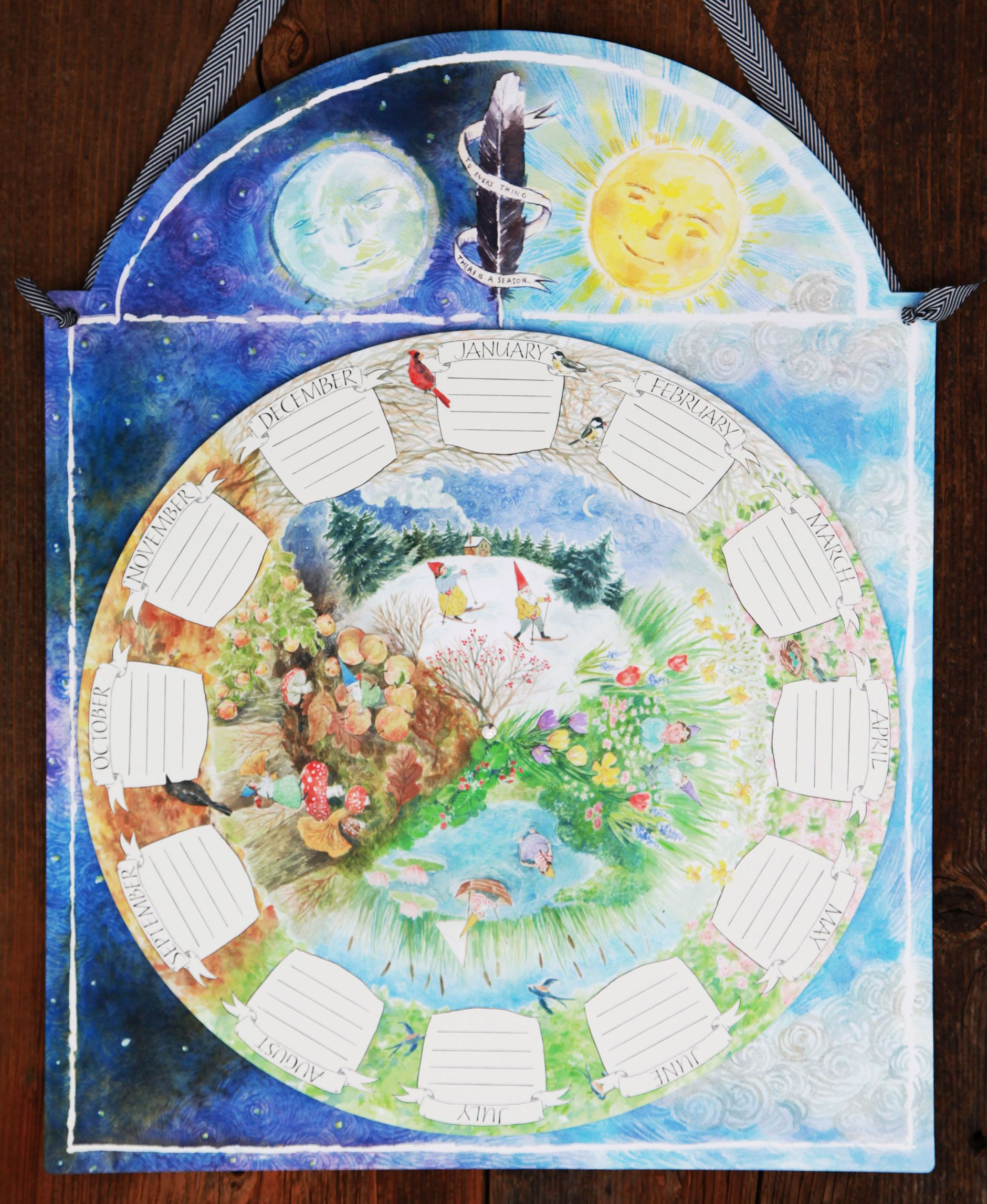 Seasons Calendar Kids : A child s calendar wall mounted spins to show progression
