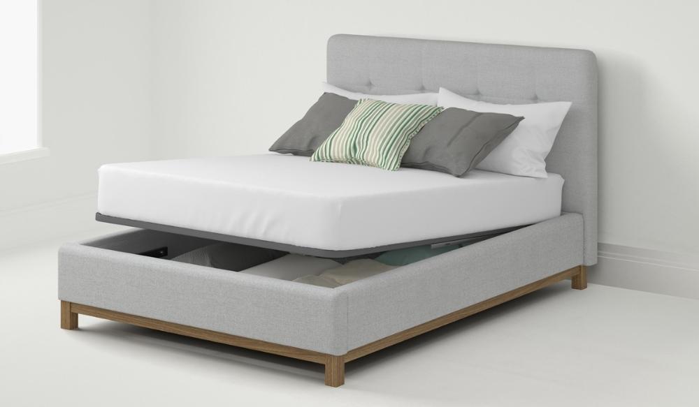 150cm Bedstead Virage Grey Bed Frame Upholstered Bed Frame Ottoman Bed