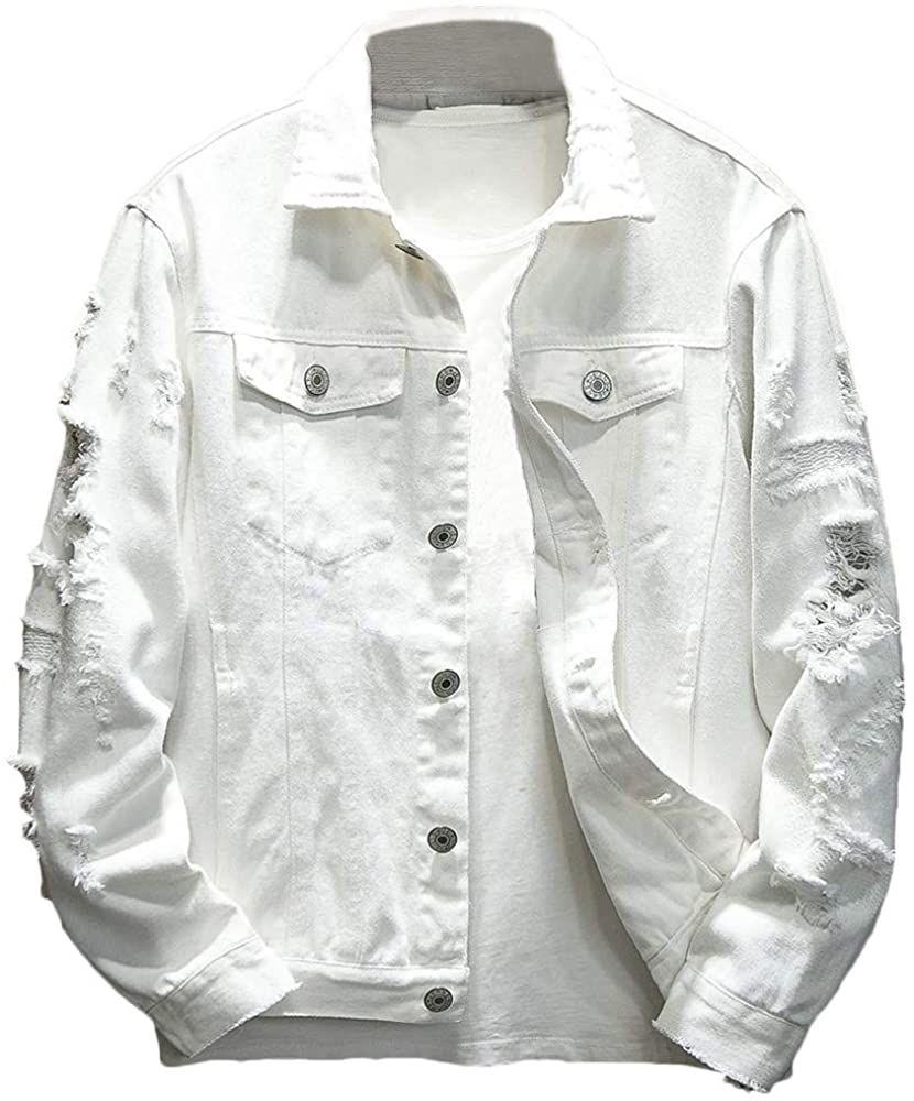 Rexcyril Men S Distressed Denim Jacket Casual Ripped Holes Button Down Trucker Jacket Jea Distressed Denim Jacket Mens Distressed Denim Jacket Denim Jacket Men [ 1000 x 830 Pixel ]