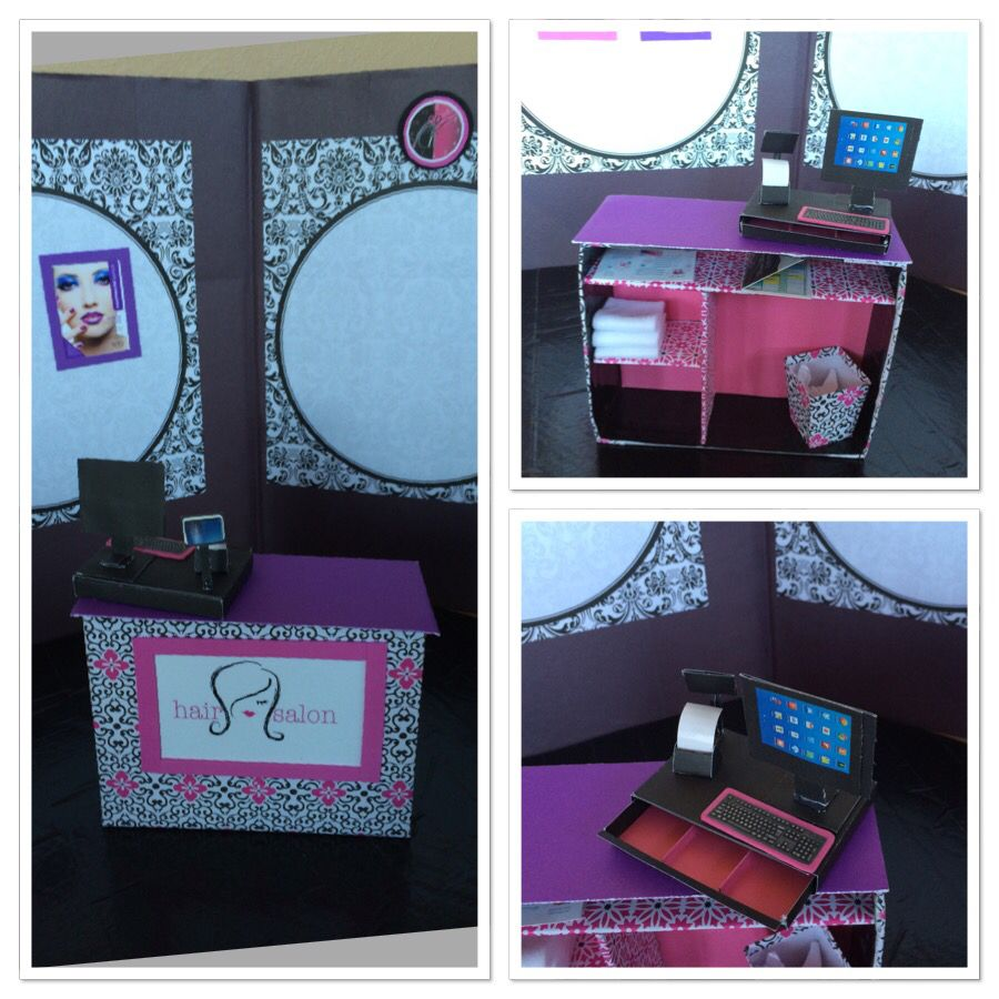 Homemade American Girl hair Salon check out counter and cash register. Cardboard box covered w scrapbook paper, cash register was made following a tutorial off My Froggy Stuff.