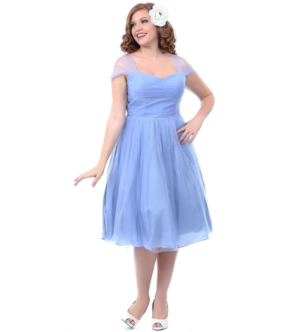 Plus party dress blue