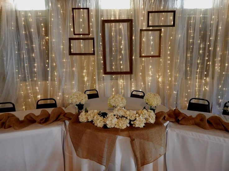Head Table Backdrop rental 20\'W x 10\'H, draped in chiffon, fairy ...