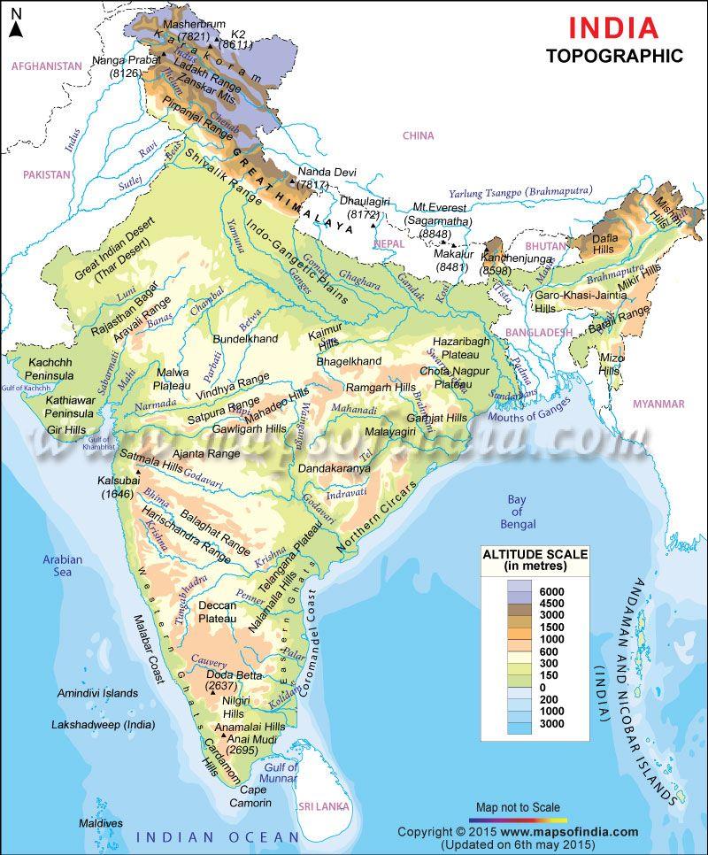 Topographic Map Of India Exam Pinterest India Map Topography