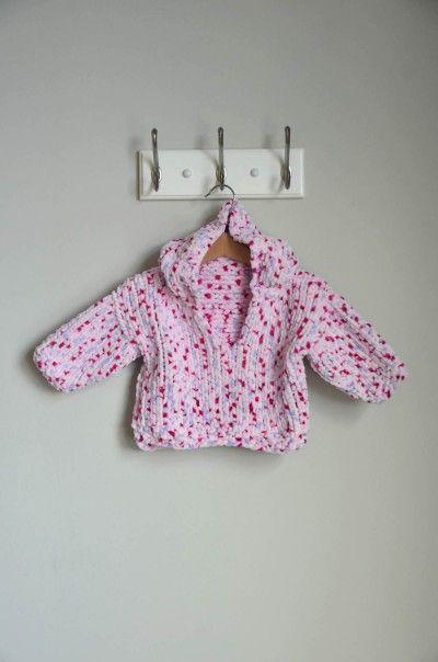 Free Knitting Pattern - Doodle Bug Hoodie in Universal Yarn Bella Chenille Multi