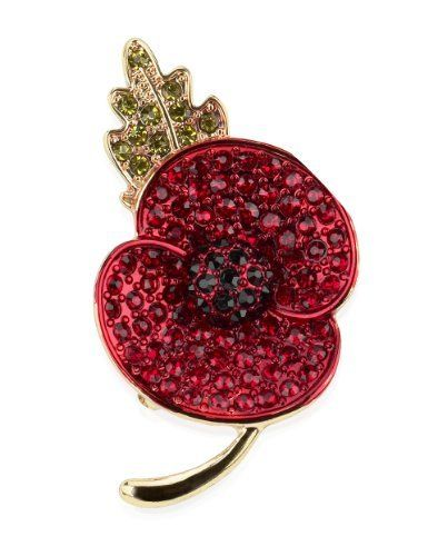 M&S Collection Small Pave Diamanté Poppy Brooch - Marks