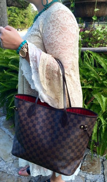 Authentic Used Louis Vuitton Neverfull Mm In Damier Ebene With Dustcover