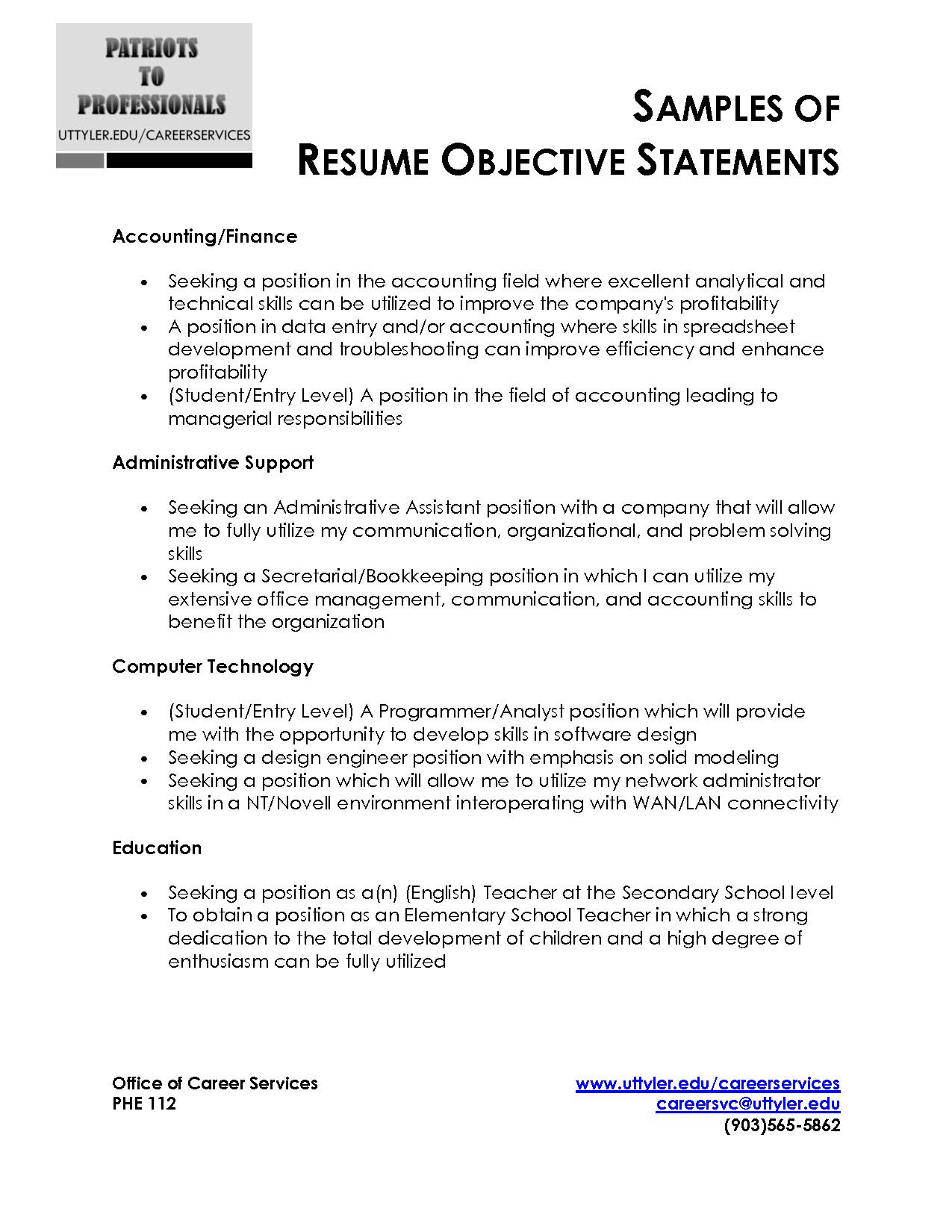 Resume Objective Statement Sample http//www