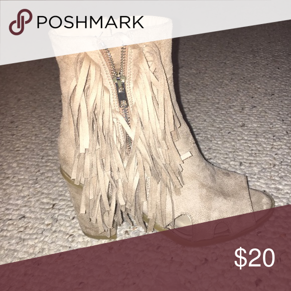Suede fringe heels Nude brown suede heels that zip up, super comfortable and cute, only worn once Shoes Ankle Boots & Booties