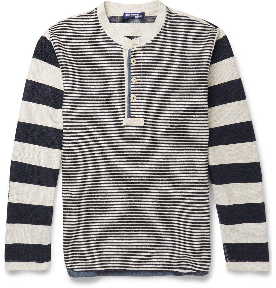 Junya Watanabe - Striped Woven Cotton-Blend Henley T-Shirt|MR PORTER