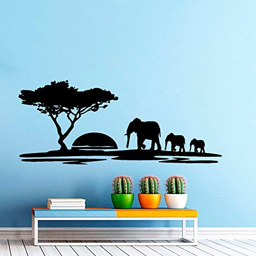 wall decals landscape sunset elephant decal nursery art bedroom