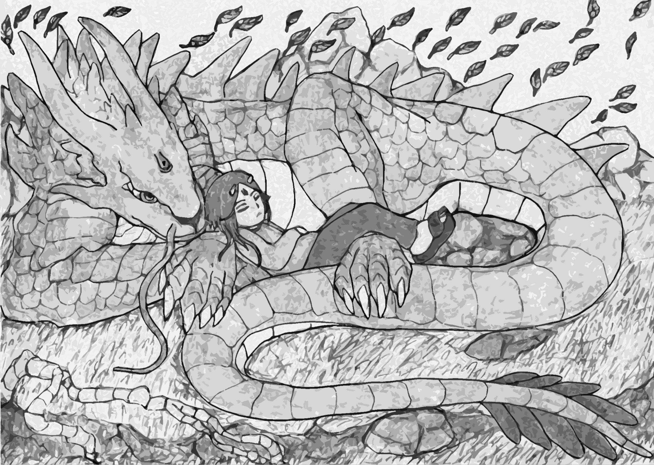 Sleeping goddess of forest and god dragon