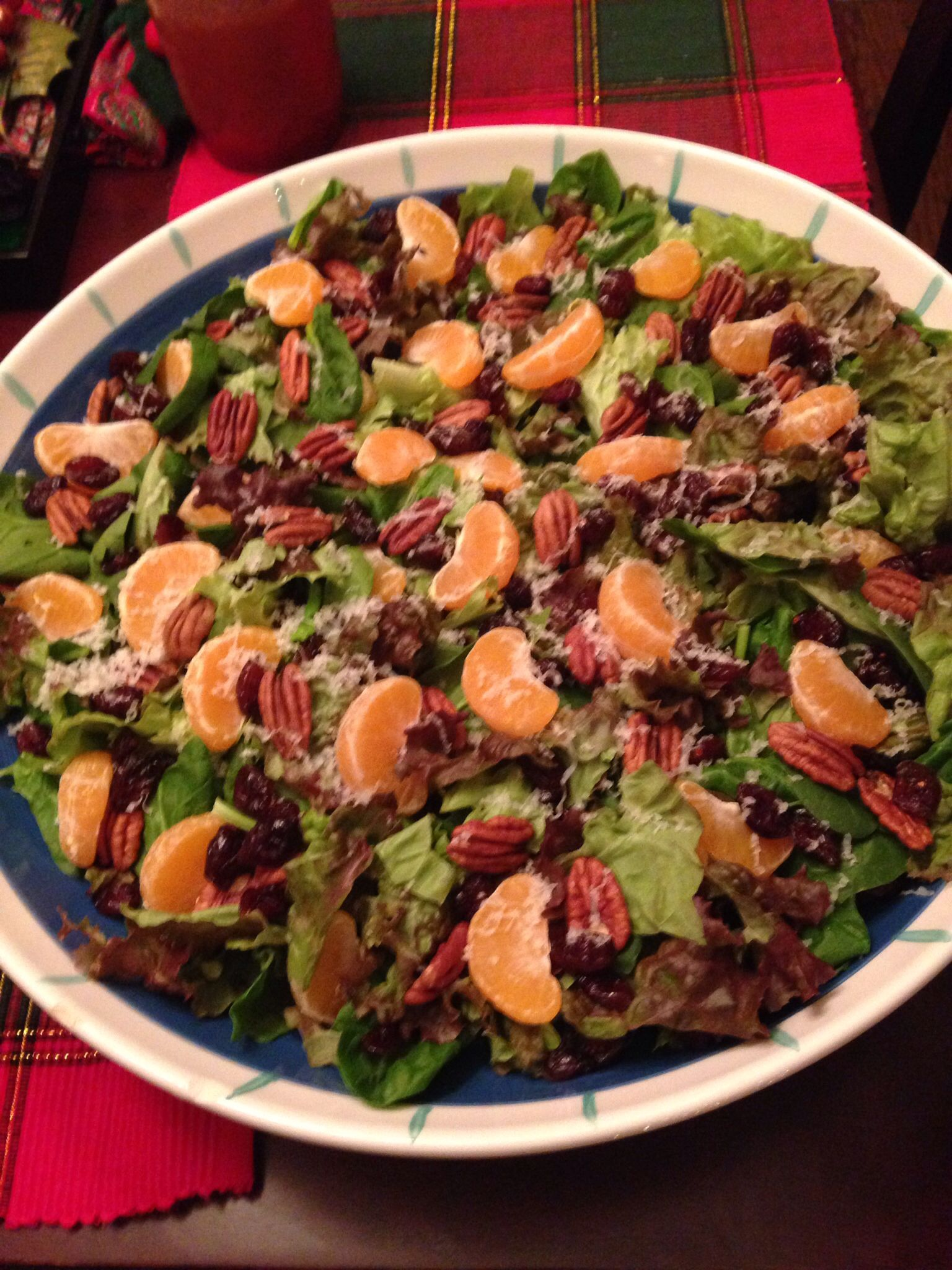 Spinach Salad with Dried Cranberries and Pecans.