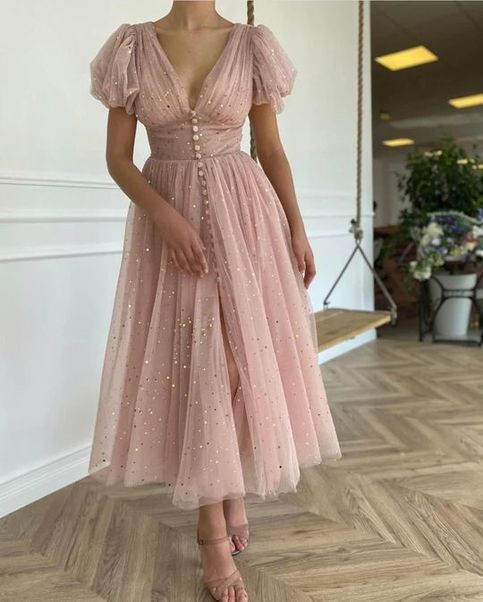 Custom Made Blush Pink Tulle Ankle Length Prom Eve