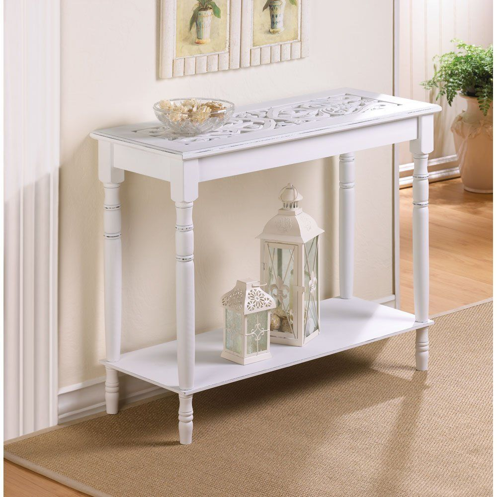 Amazon Com Home Accent White Wood Carved Top Sofa Console Table Mdf Look